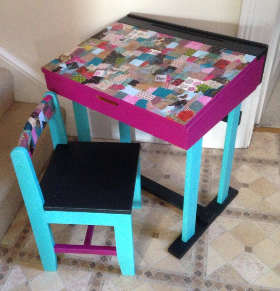 Desk and chair.