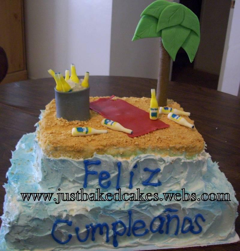Corona Beer / Beach themed Birthday Cake