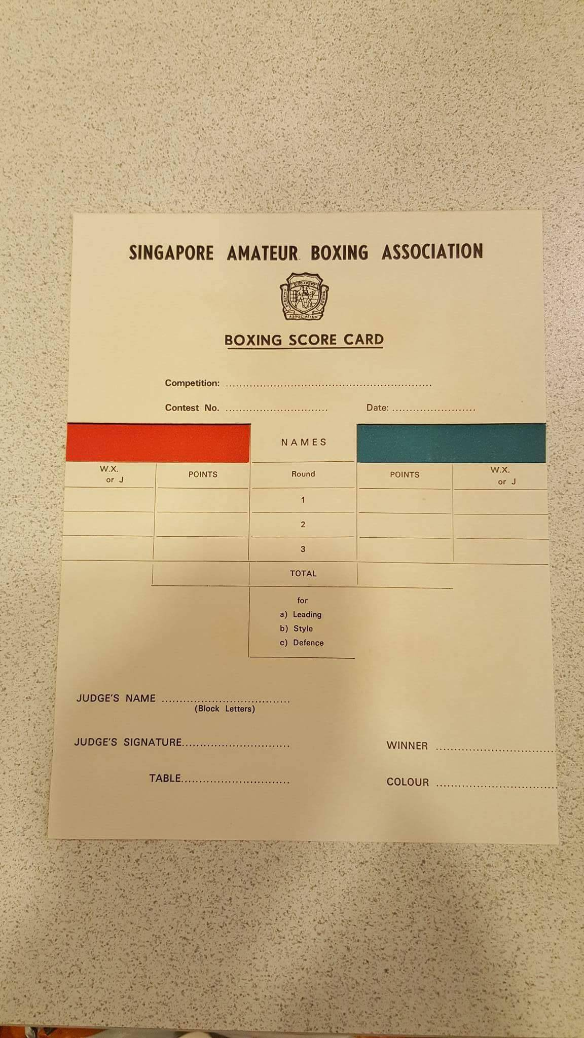A SABA Score Sheet from the 1960s