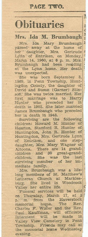 Brumbaugh, Ida Mary Stinson Hunter 1960