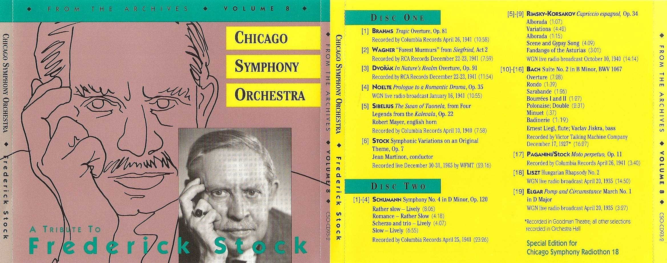 Chicago Symphony Orchestra - From The Archives, Vol.8: A Tribute to Frederick Stock, 2-CD set (1993)