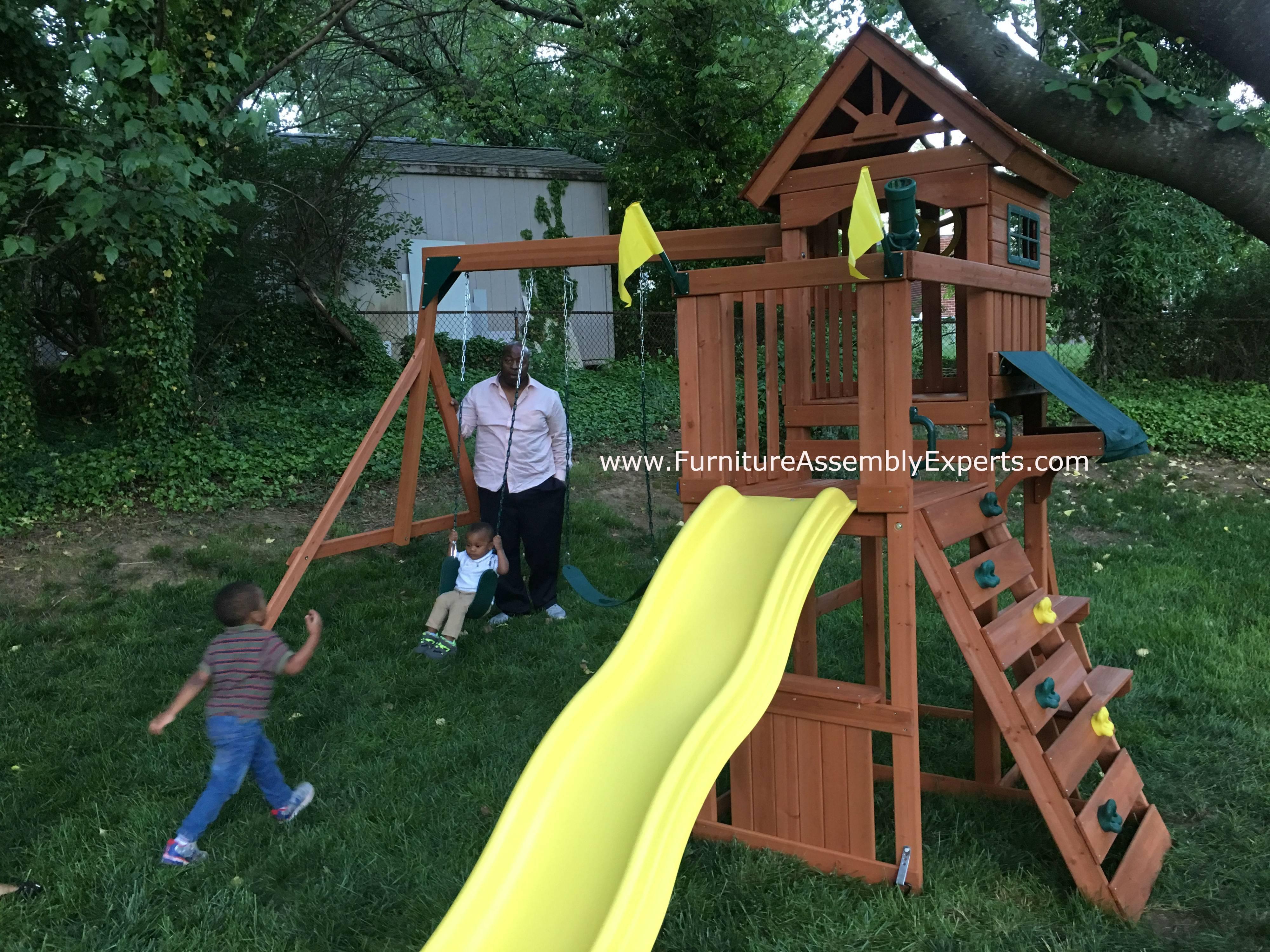 Swing n slide swing set installation in MarylandSwing n slide swing set installation in Virginia