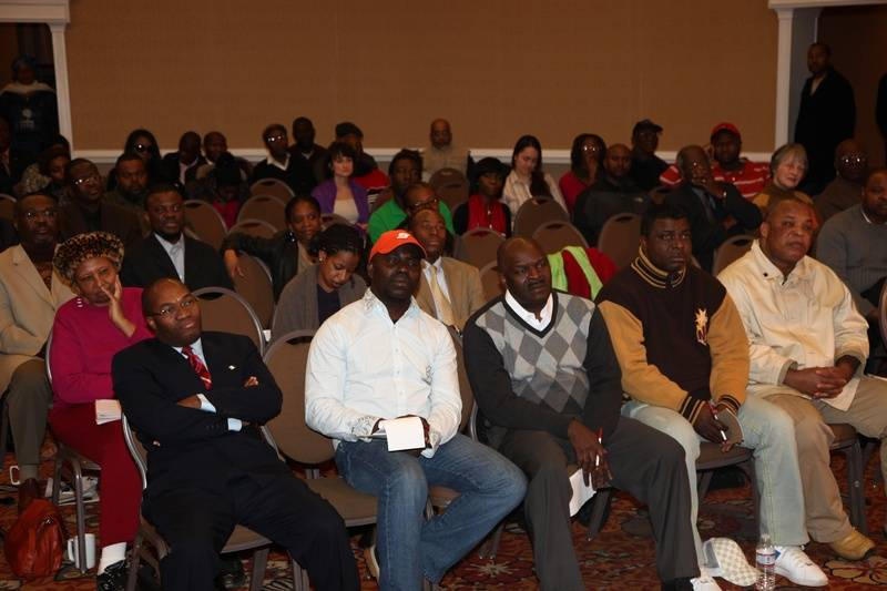 Part of the audience of 100 people