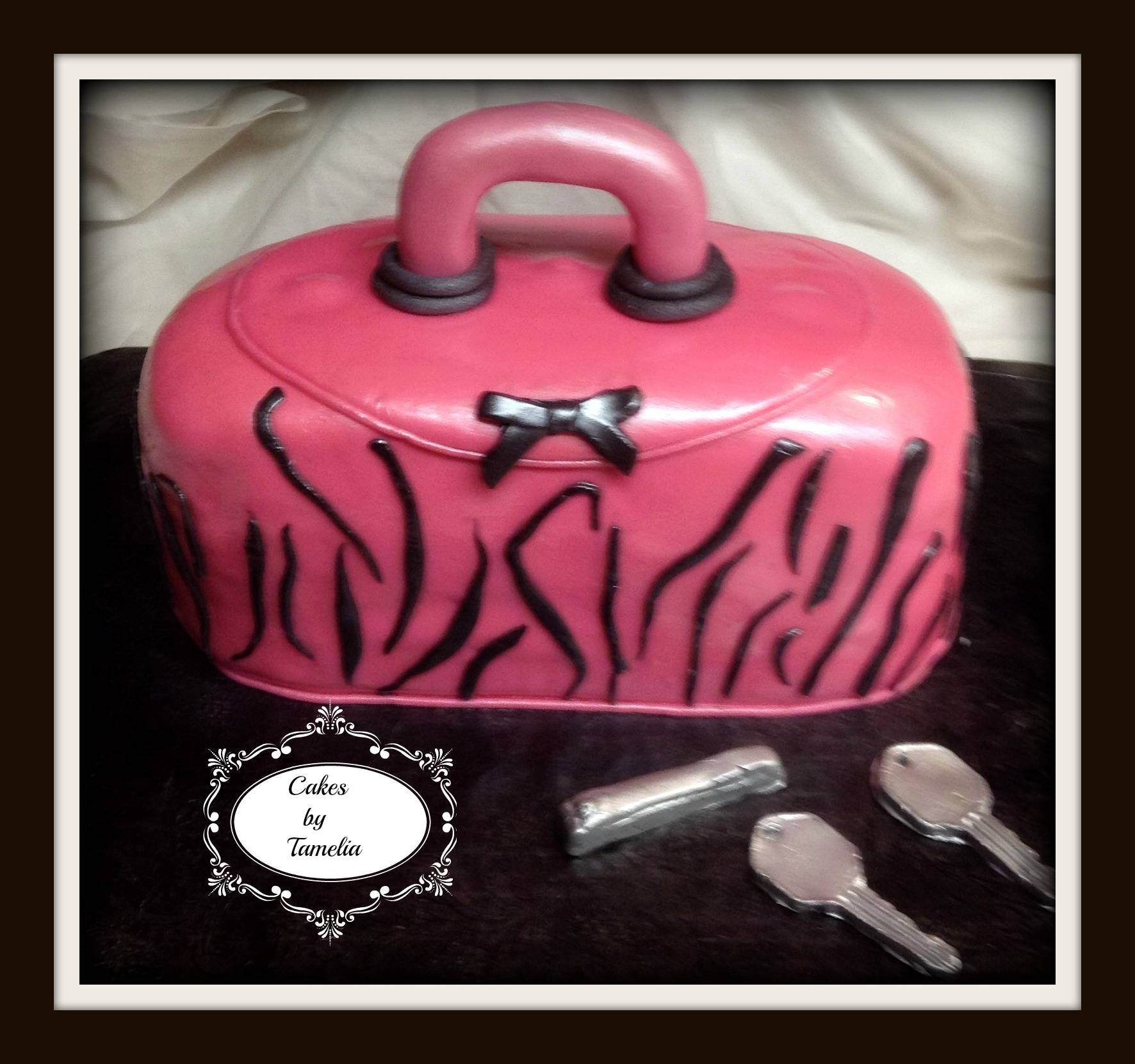 Pink and Black Zebra Print Purse Cake