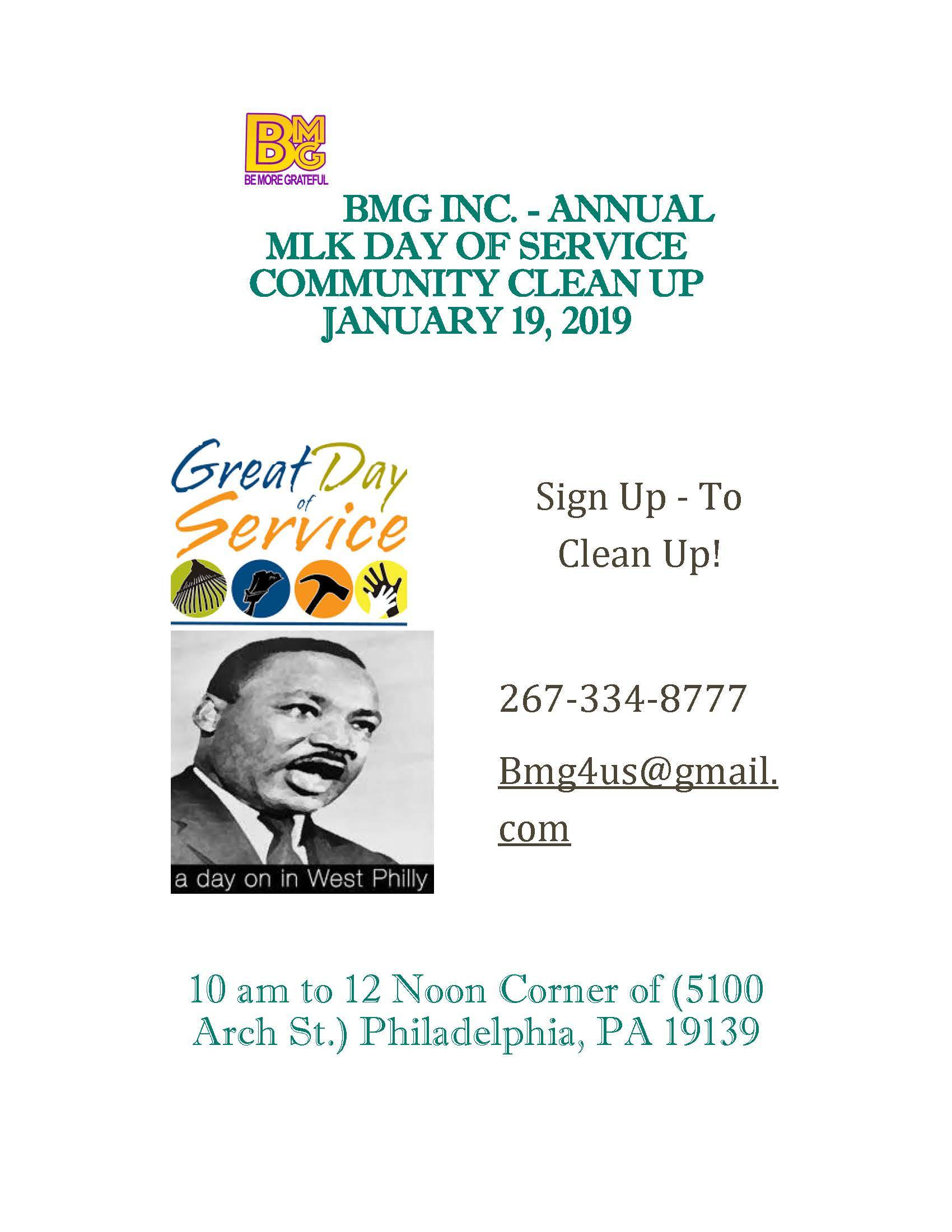 BMG - MLK Day of Service Sign Up  Info