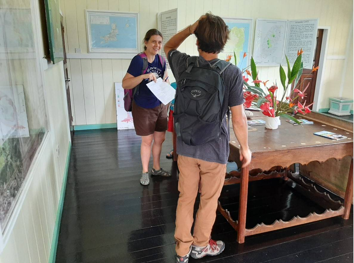 Noëlle Gunst interviewing a visitor for the community-based conservation project (Grand Etang National Park, Grenada, West Indies, December 2019)