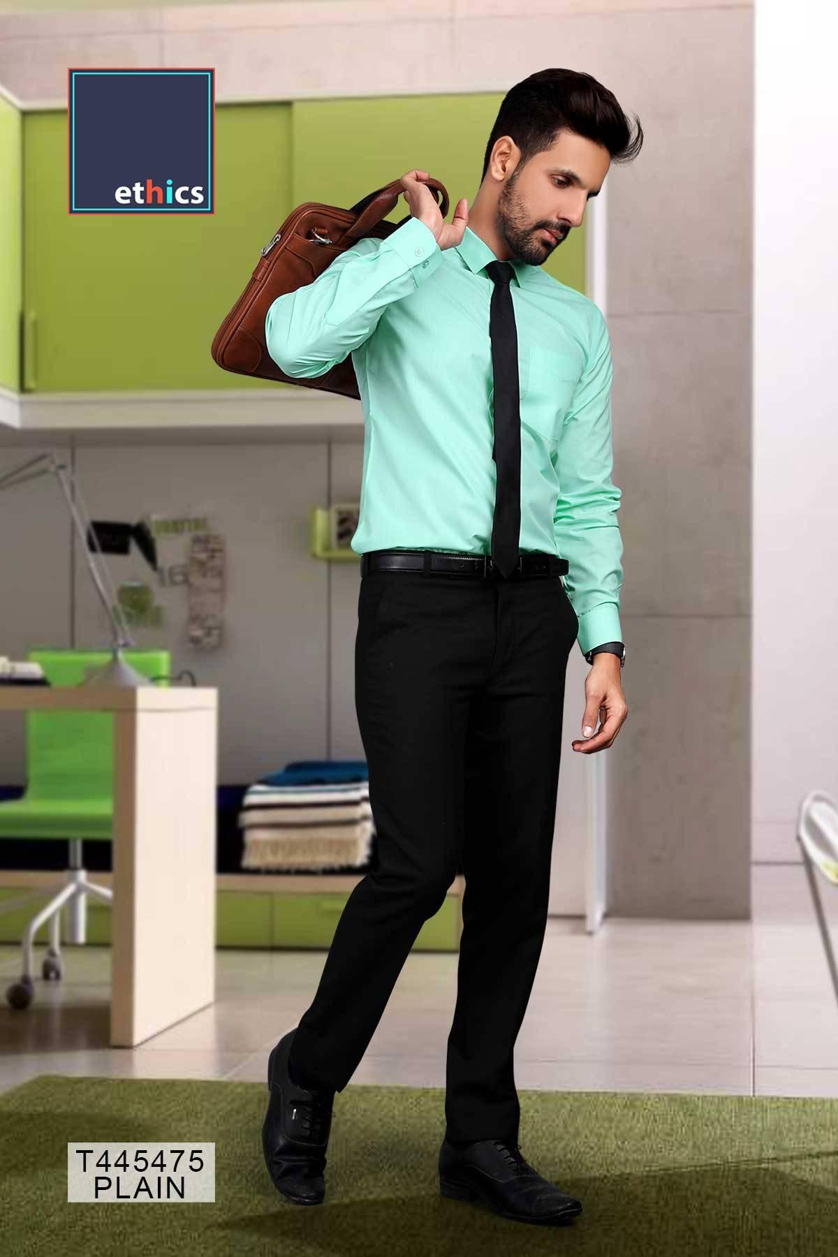 Sea Green Plain Corporate Uniform Readymade Shirts T-445475