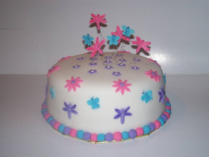Dragonfly, Butterfly, Flowers cake