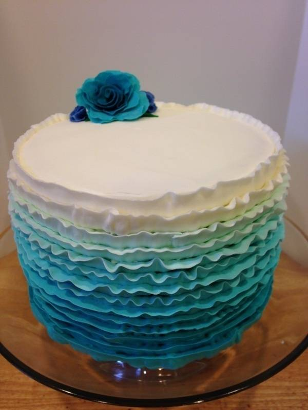 Teal Ombre Ruffle Cake