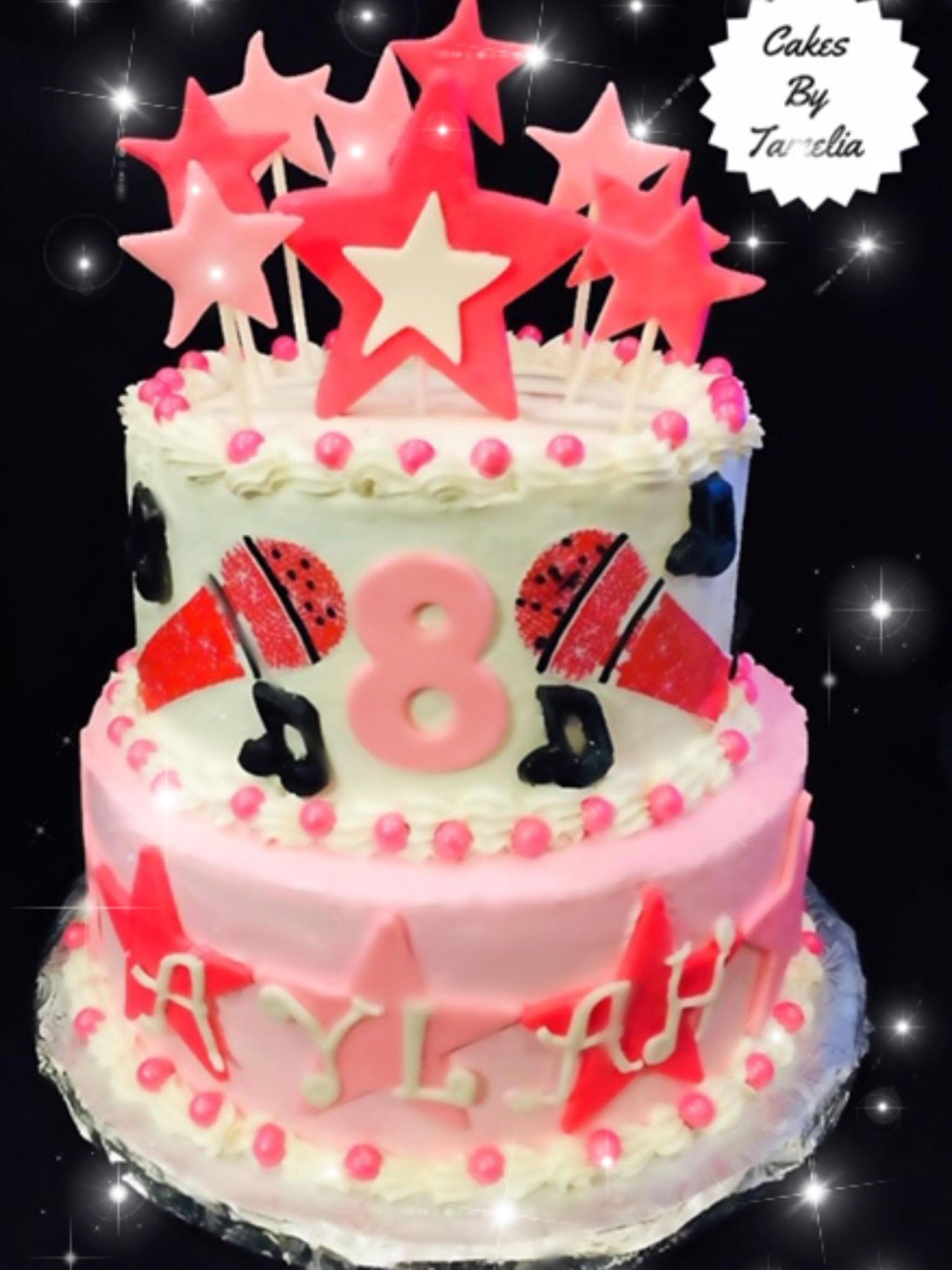 pink and white disco Cake