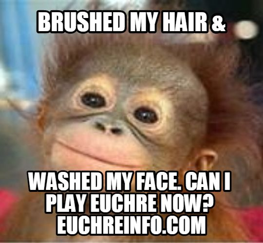 'Brushed my hair and washed my face, can I play Euchre now?