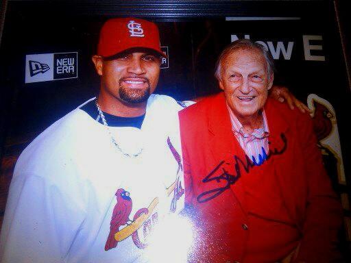 STAN MUSIAL Albert Pujols Autographed 8x10 Photo w/coa 2011 World Series RARE