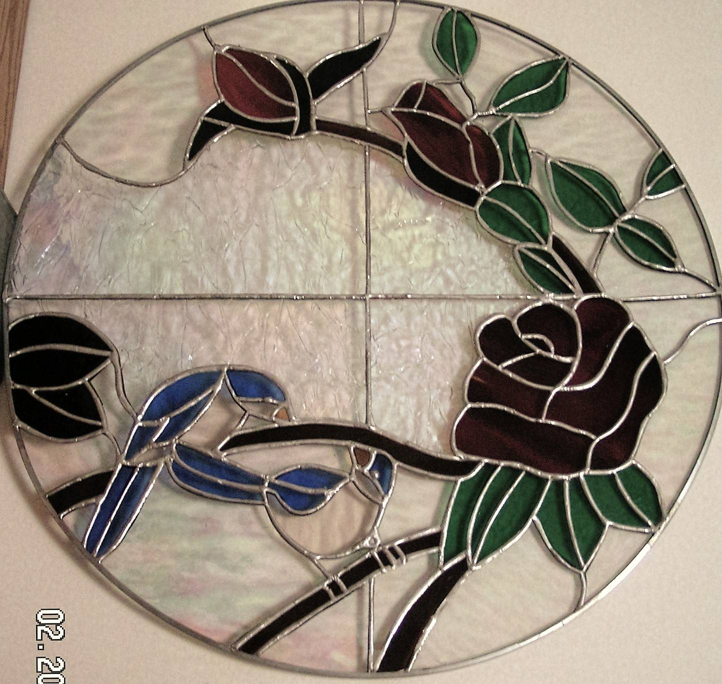 Blue Birds and Roses Oval Panel
