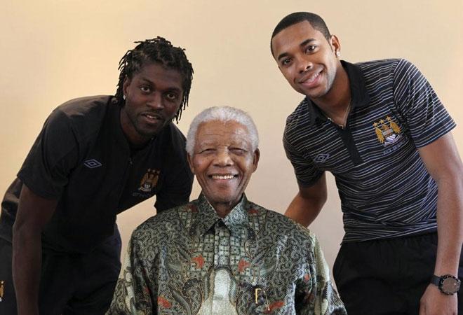 Mandela with Rubinho and Adegbayor