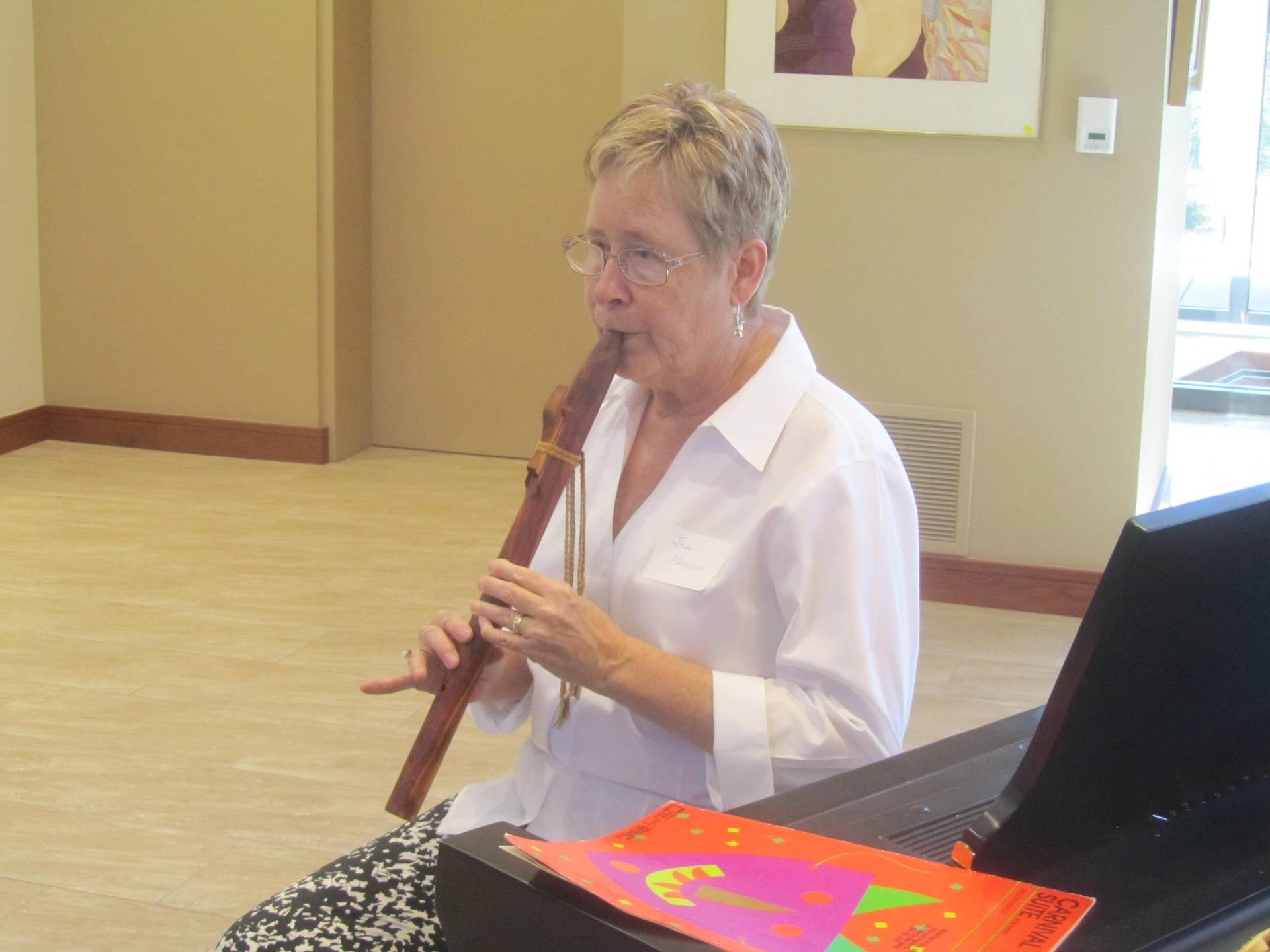 Joan mangels Playing the Native American Flute at the Reception