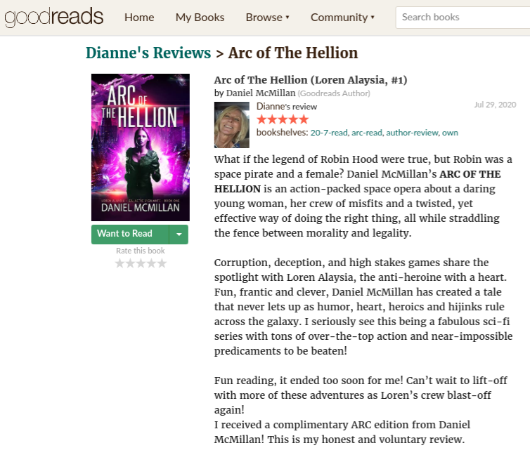 TomeTender.com's Review of Arc of The Hellion