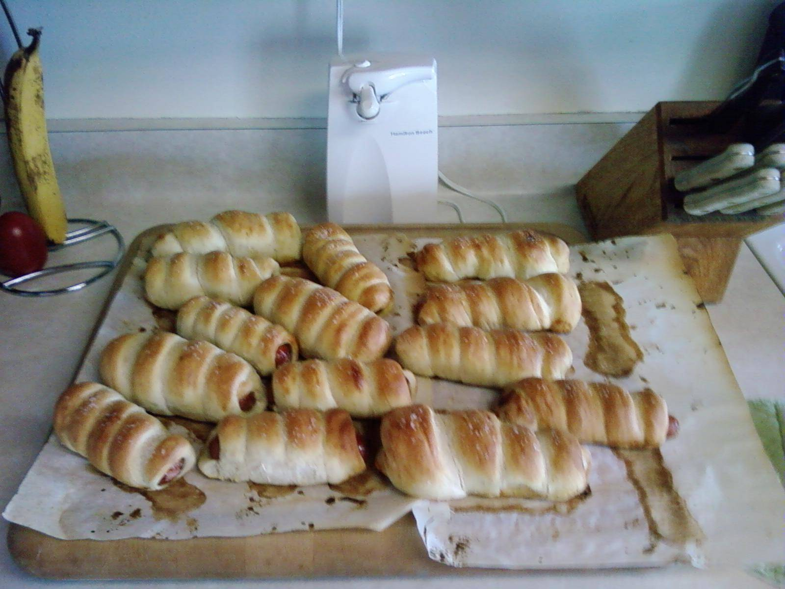 pretzle wrapped hot dogs