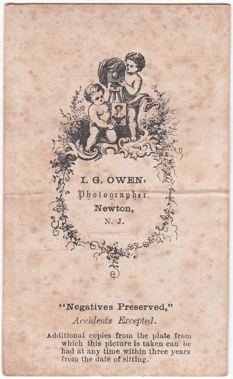 I. G. Owen, photographer, of Newton, NJ - back