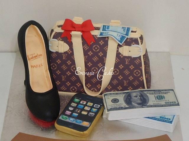 LV purse cake with handmade Louboutin Shoe(SP137)