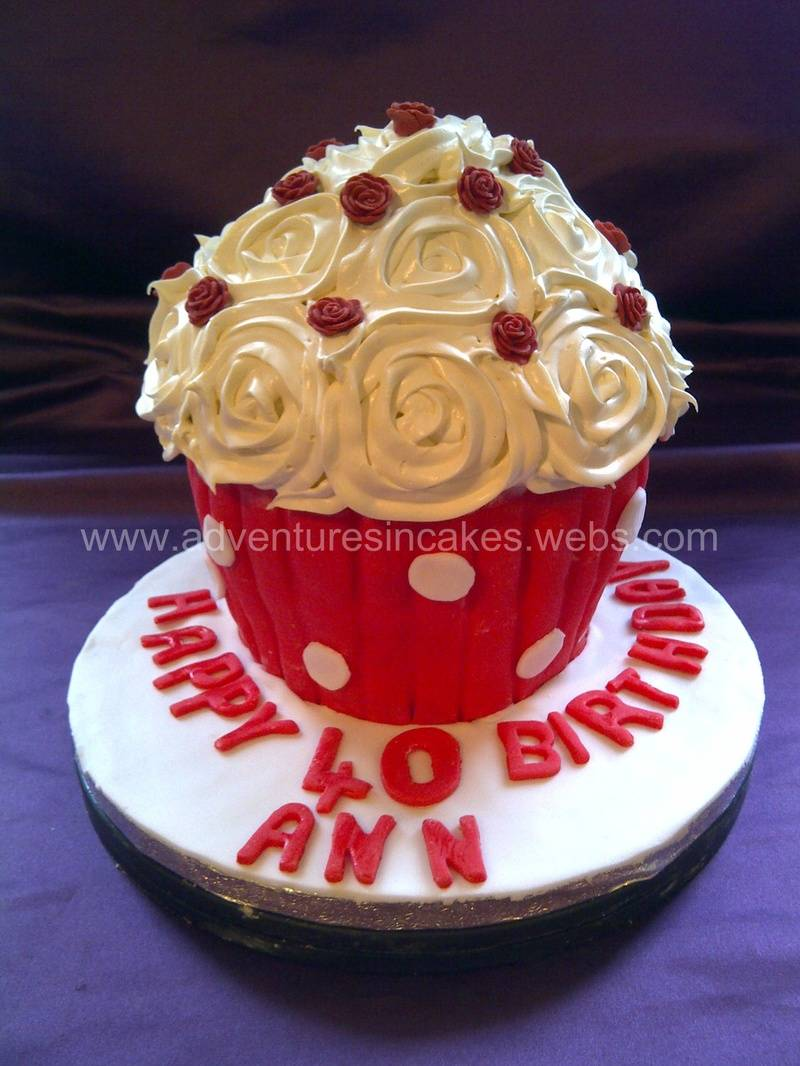 Giant Cupcake with Roses