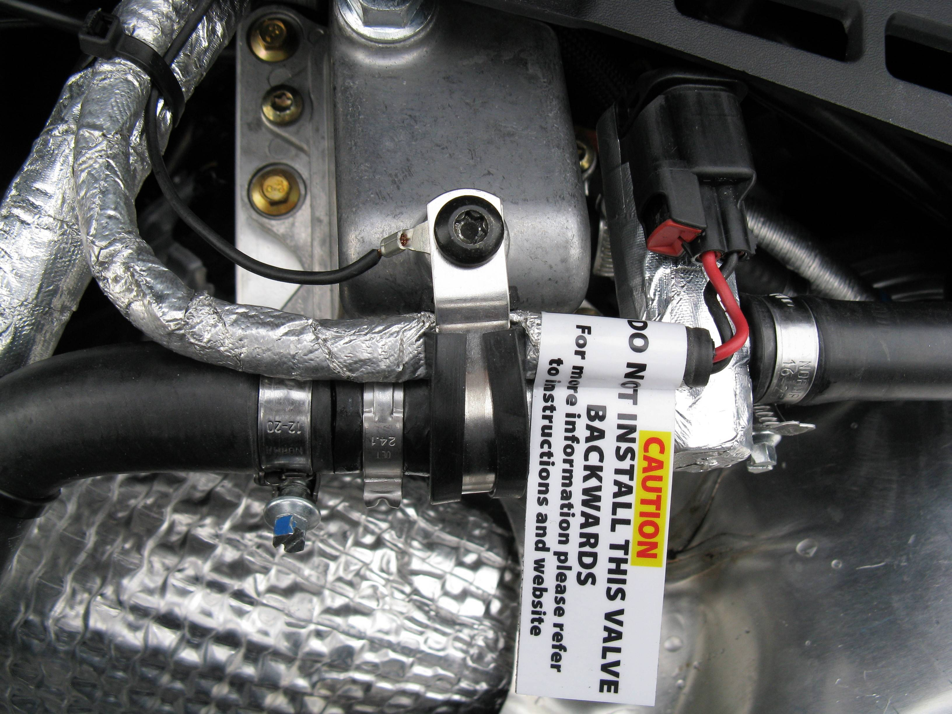 Overhead view of installed valve