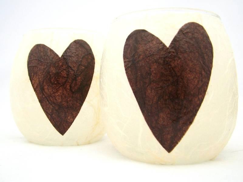 Cream and Brown Folk Heart