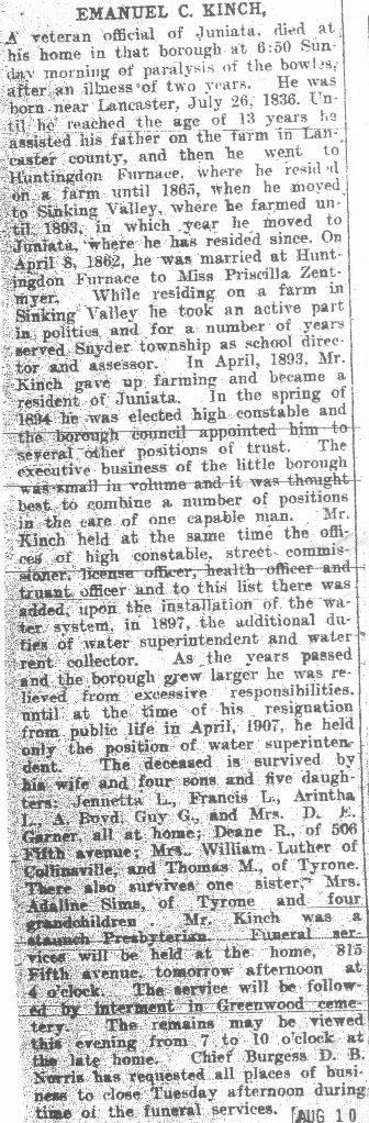 Kinch, Emanuel - Part 1 - 1908