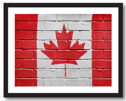 Canadian Flag painted on Brick