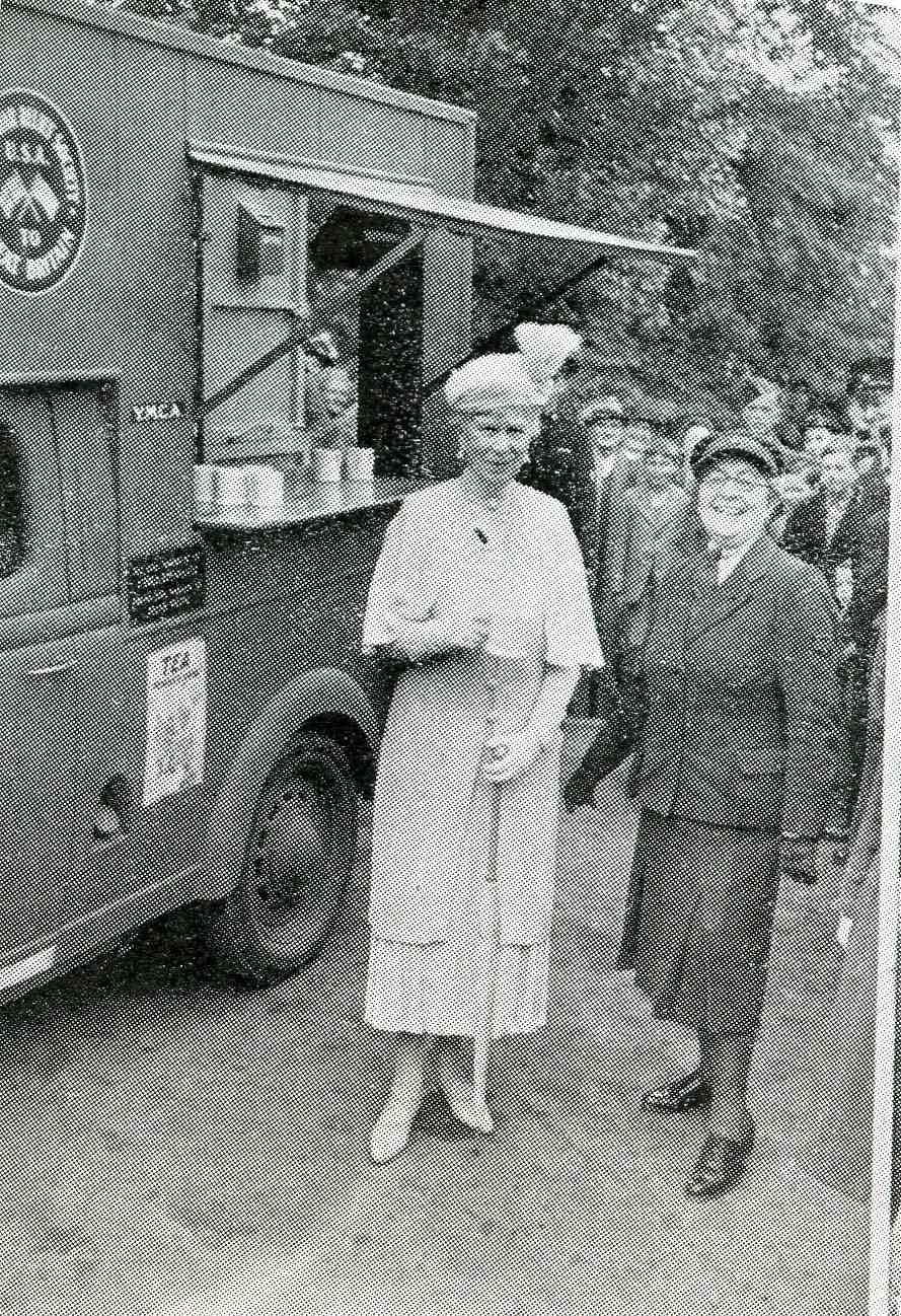 Queen Mary having tea at YMCA Tea Van