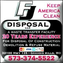 FJ Disposal llc, 32100 HWY 135, GRAVOIS MILLS, MISSOURI, 65037, United States