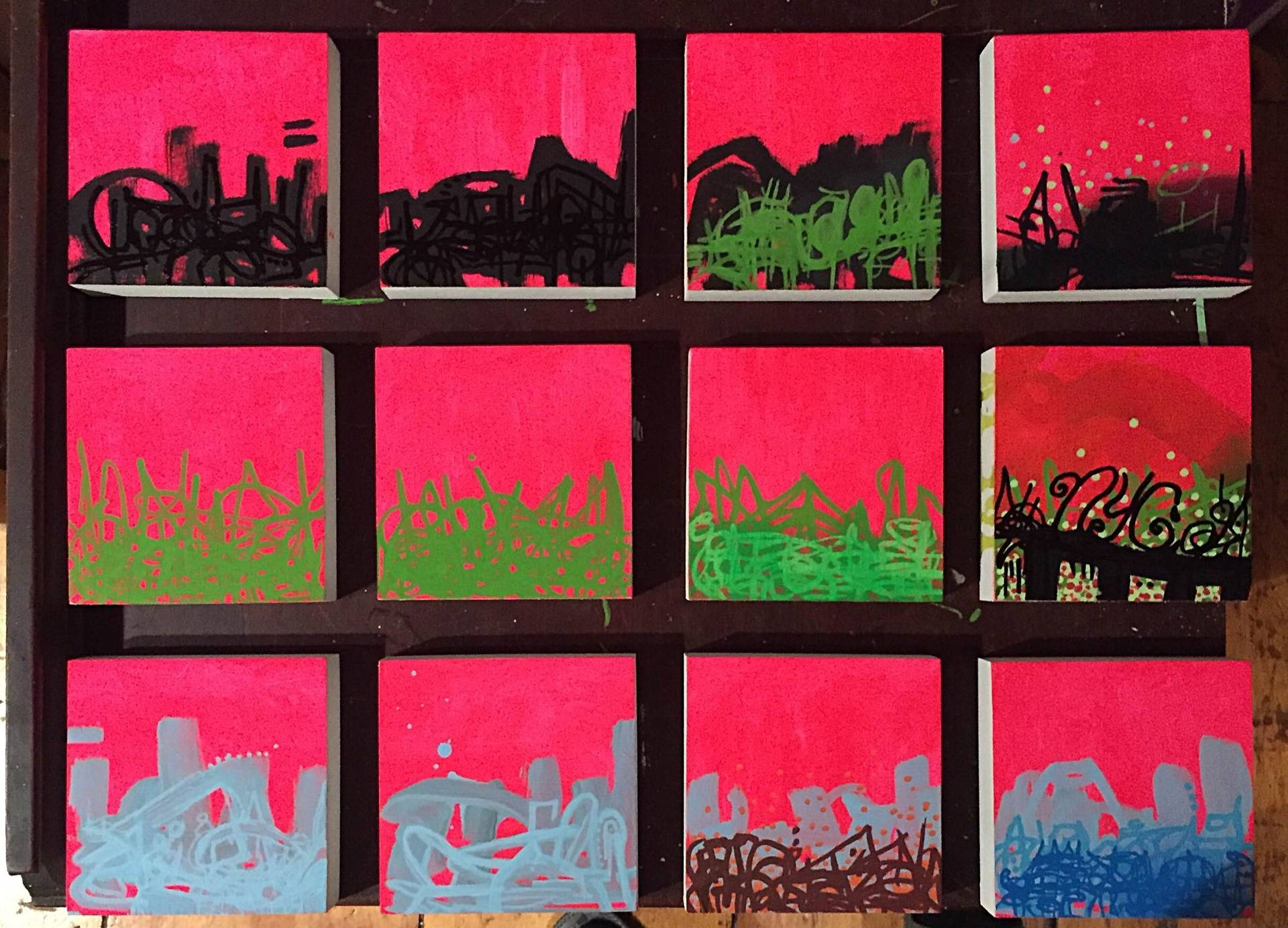 These are little pinky #4-15. They are 4x4 inches and going for $50 each. Three of them are available at the @popupgallerynyc show and the remaining 9 will be available at my studio during Bushwick Open Studios.