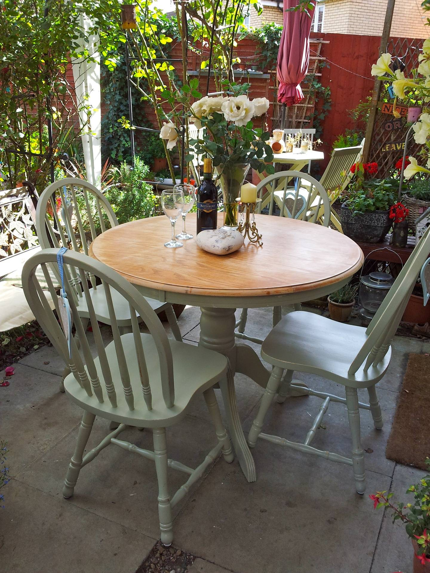 Round Table With Pedestal Base & 4 Chairs Painted in F & B Old White