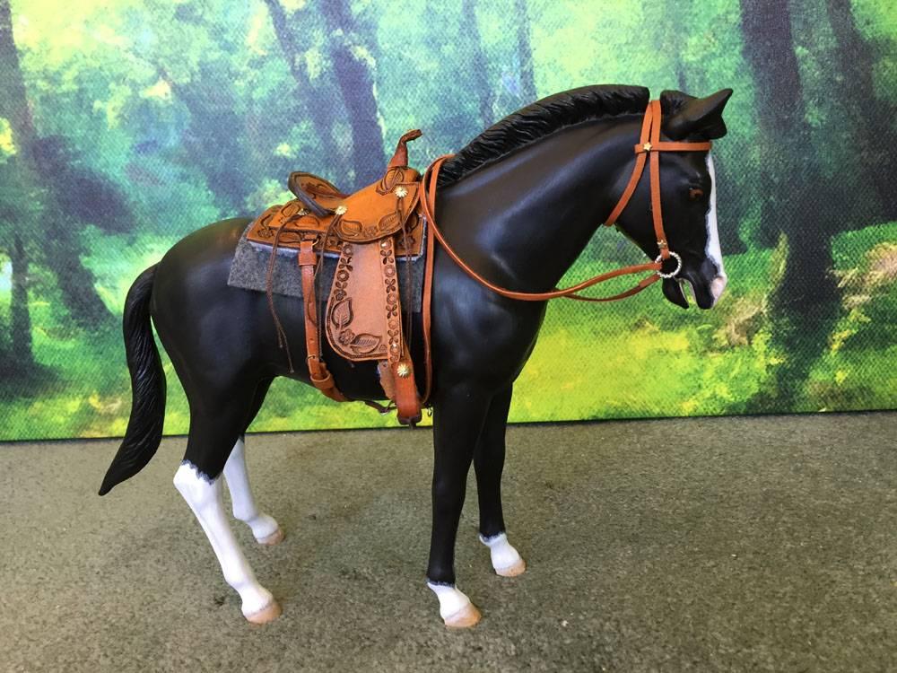tooled pony saddle by me