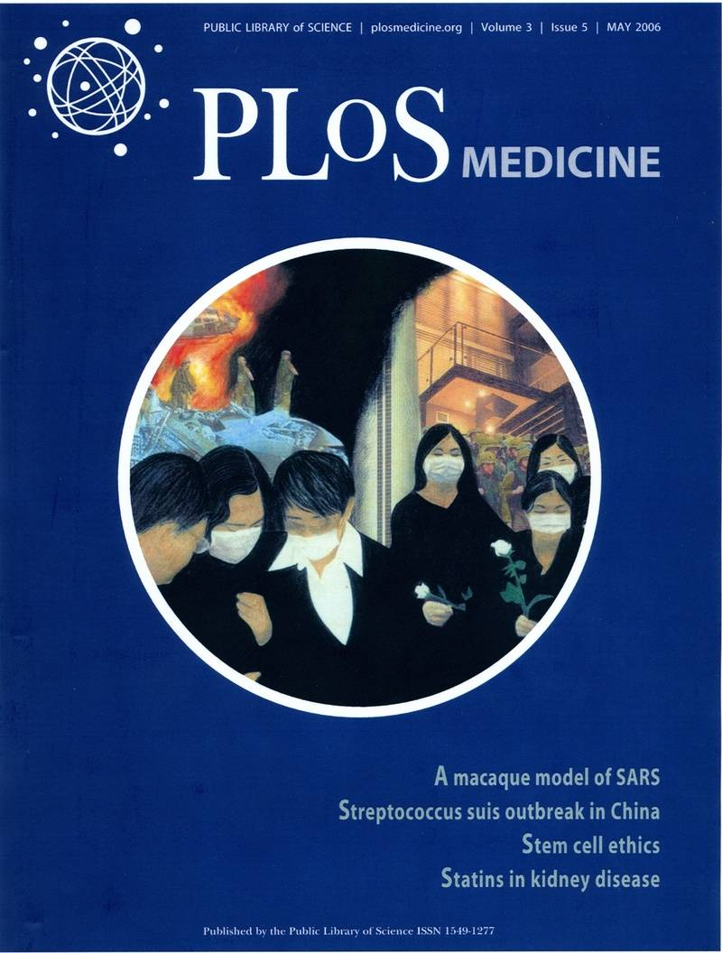 Cover of PLOS Journal featuring 'Stars with SARS'