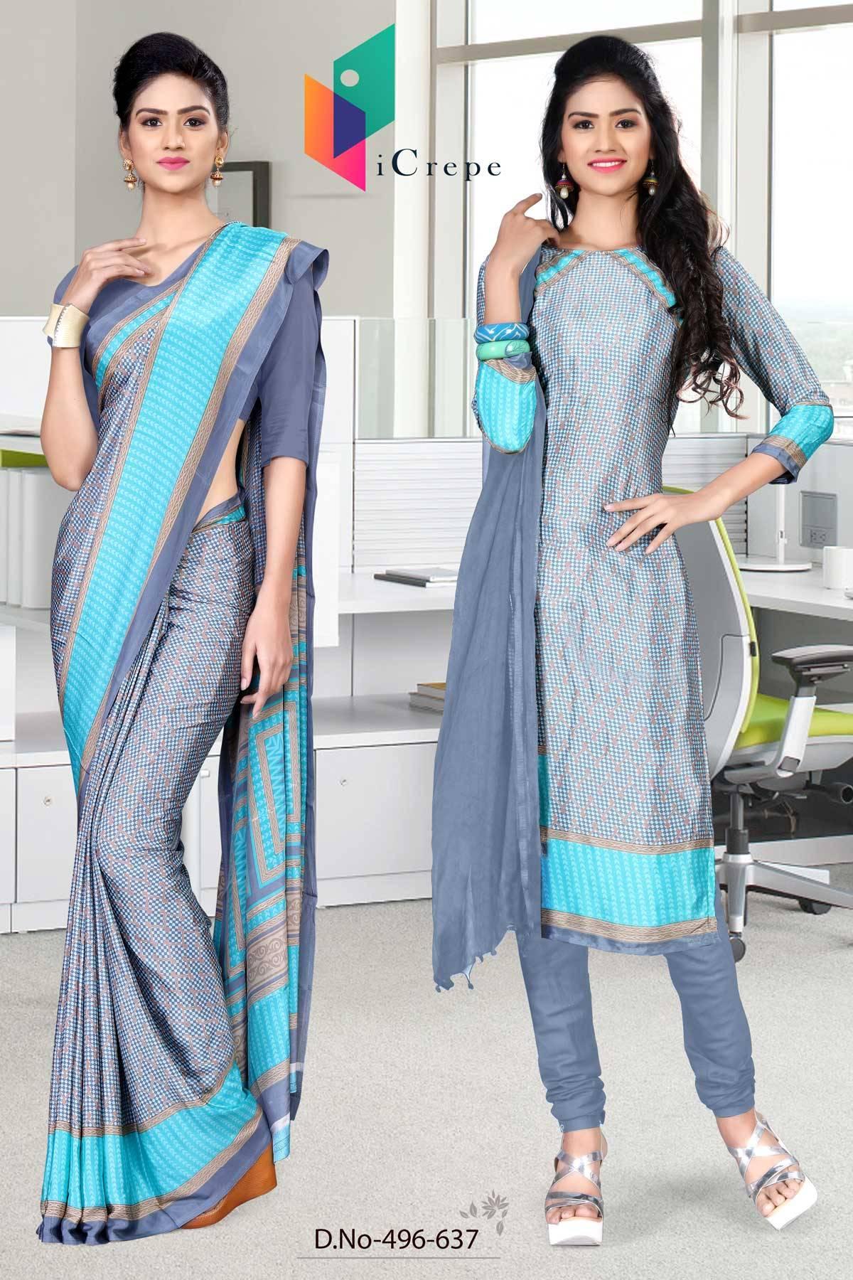 Blue and Blue Italian Crepe Silk Uniform Saree and Salwar combo-496-637