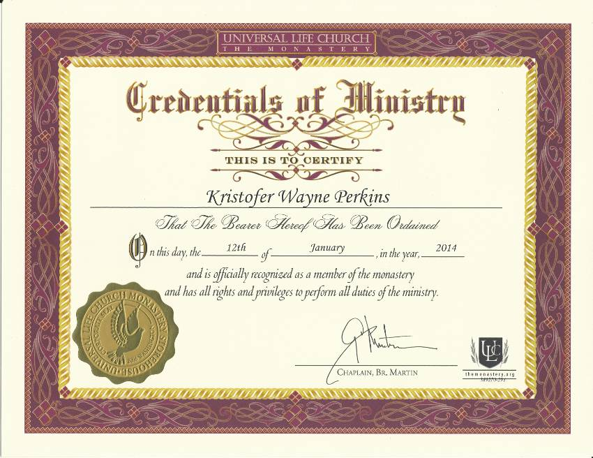 Credentials of Ministry/Ordination License