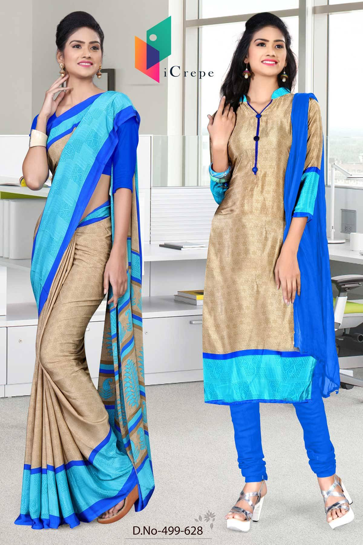 Brown and Blue Italian Crepe Silk Uniform Saree and Salwar combo-499-628