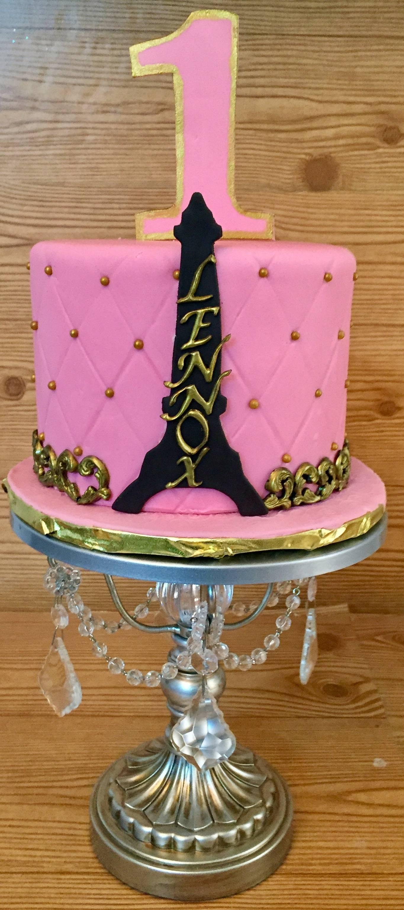 Paris themed birthday cake