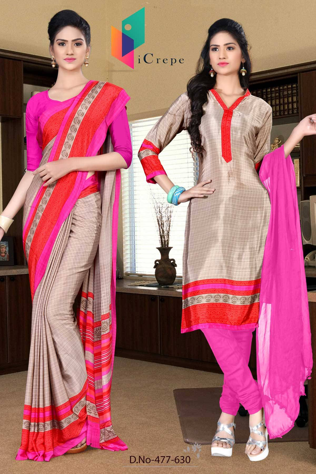 Beige and Pink Italian Crepe Silk Uniform Saree and Salwar combo-477-630