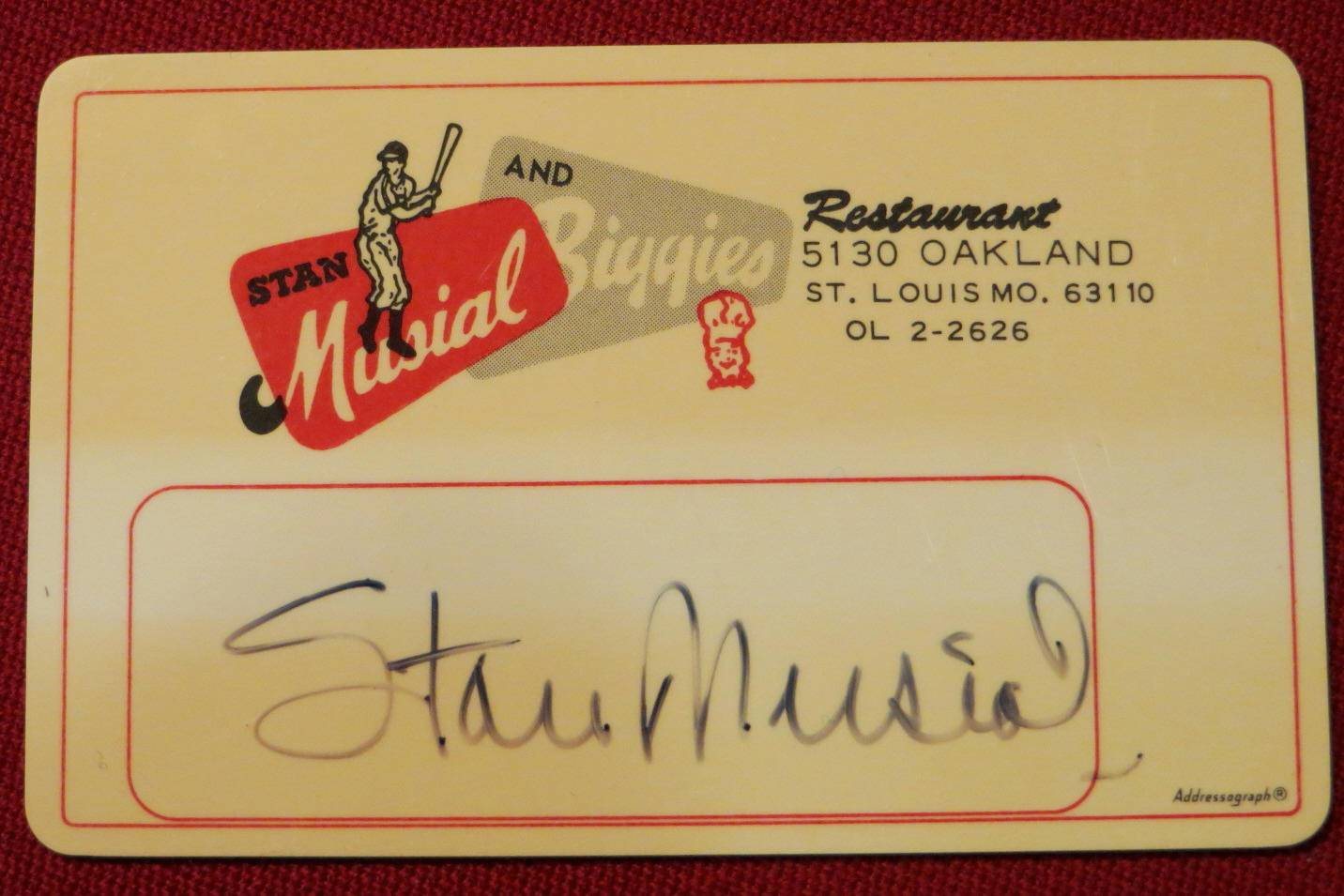 Stan Musial Autographed Musial and Biggies Restaurant Entry Card