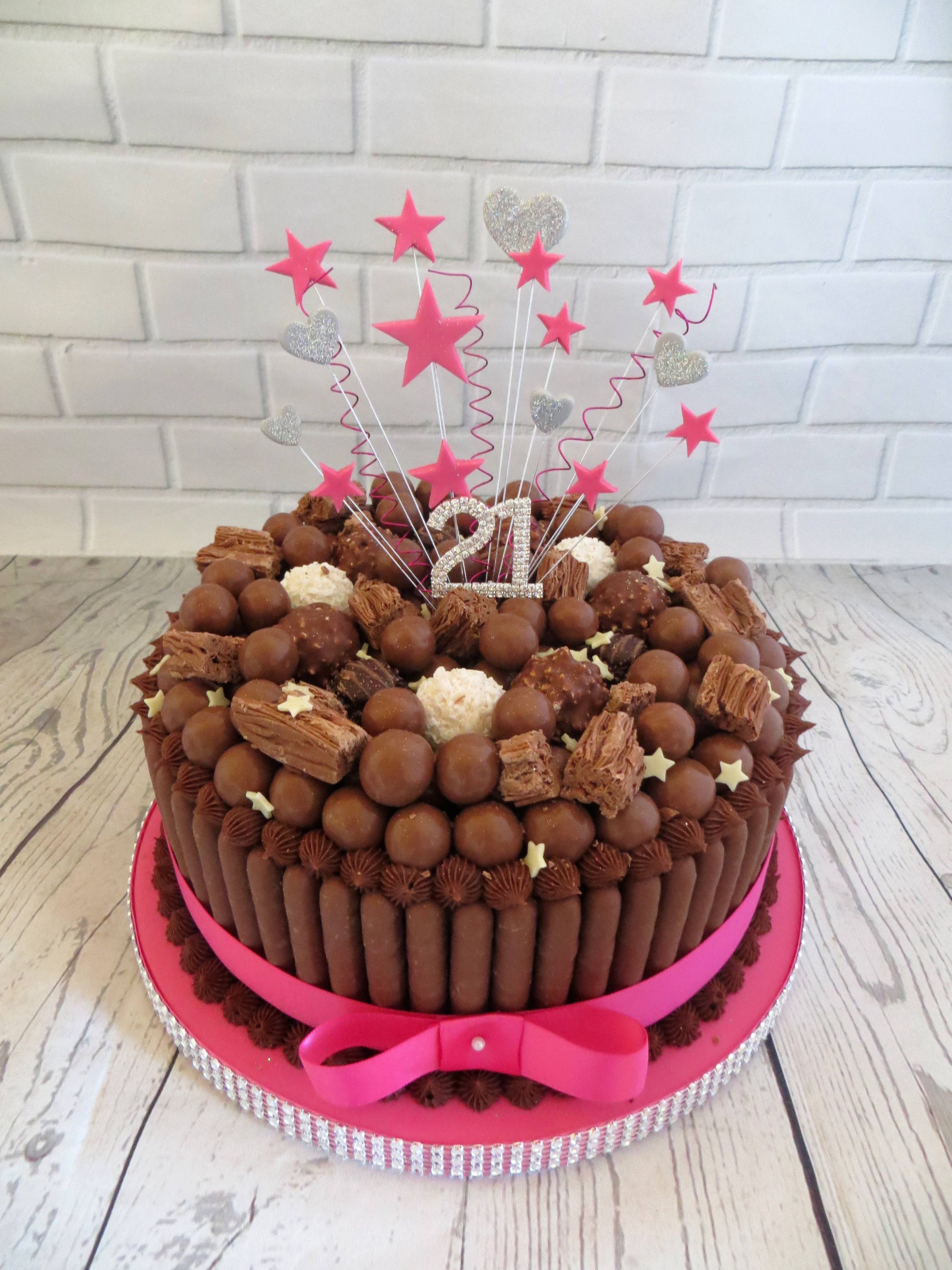 21st birthday silver and pink chocolate cake
