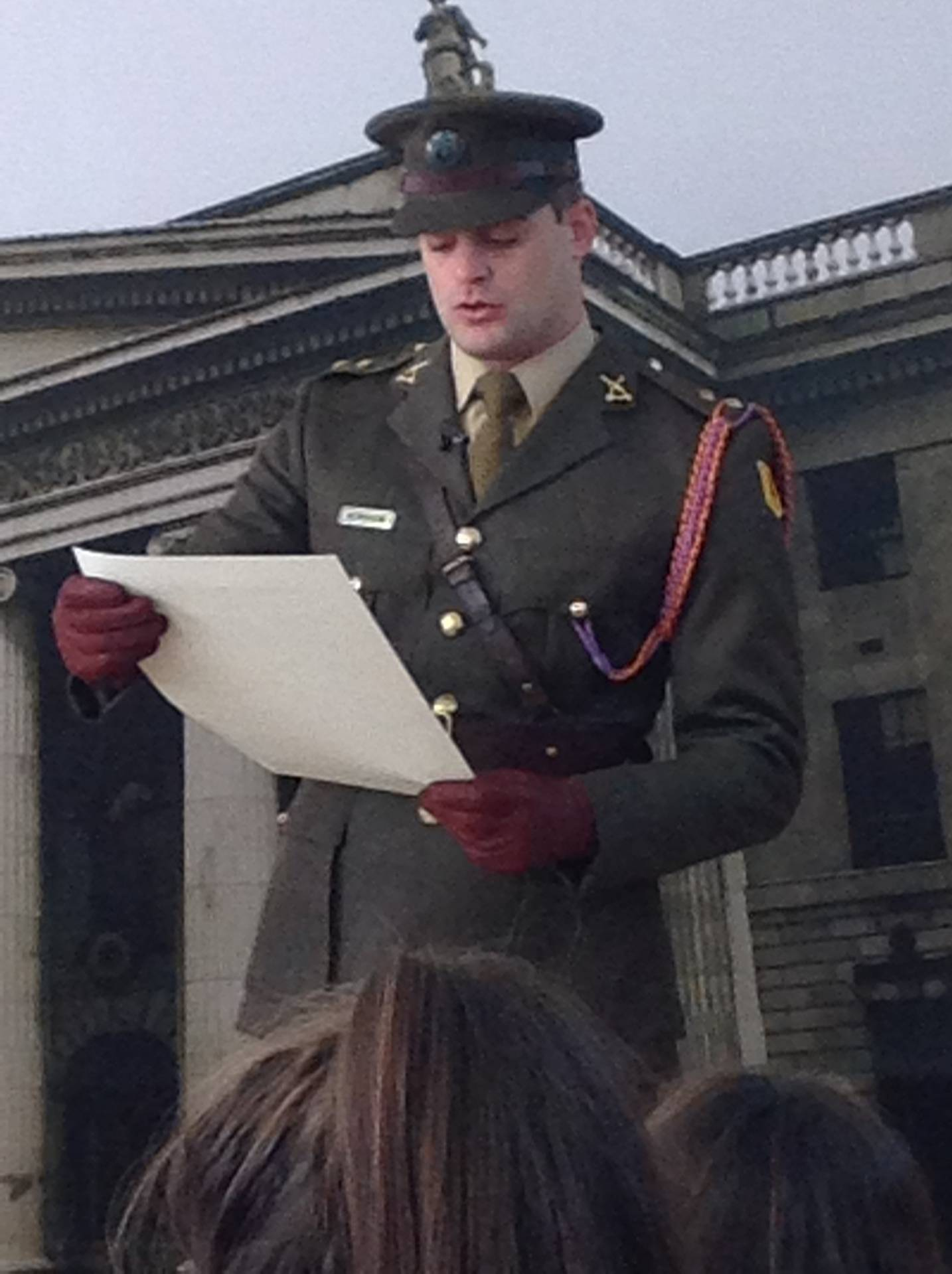 Lieutenant Billy Henshaw reads out a copy of the Proclamation of the Republic