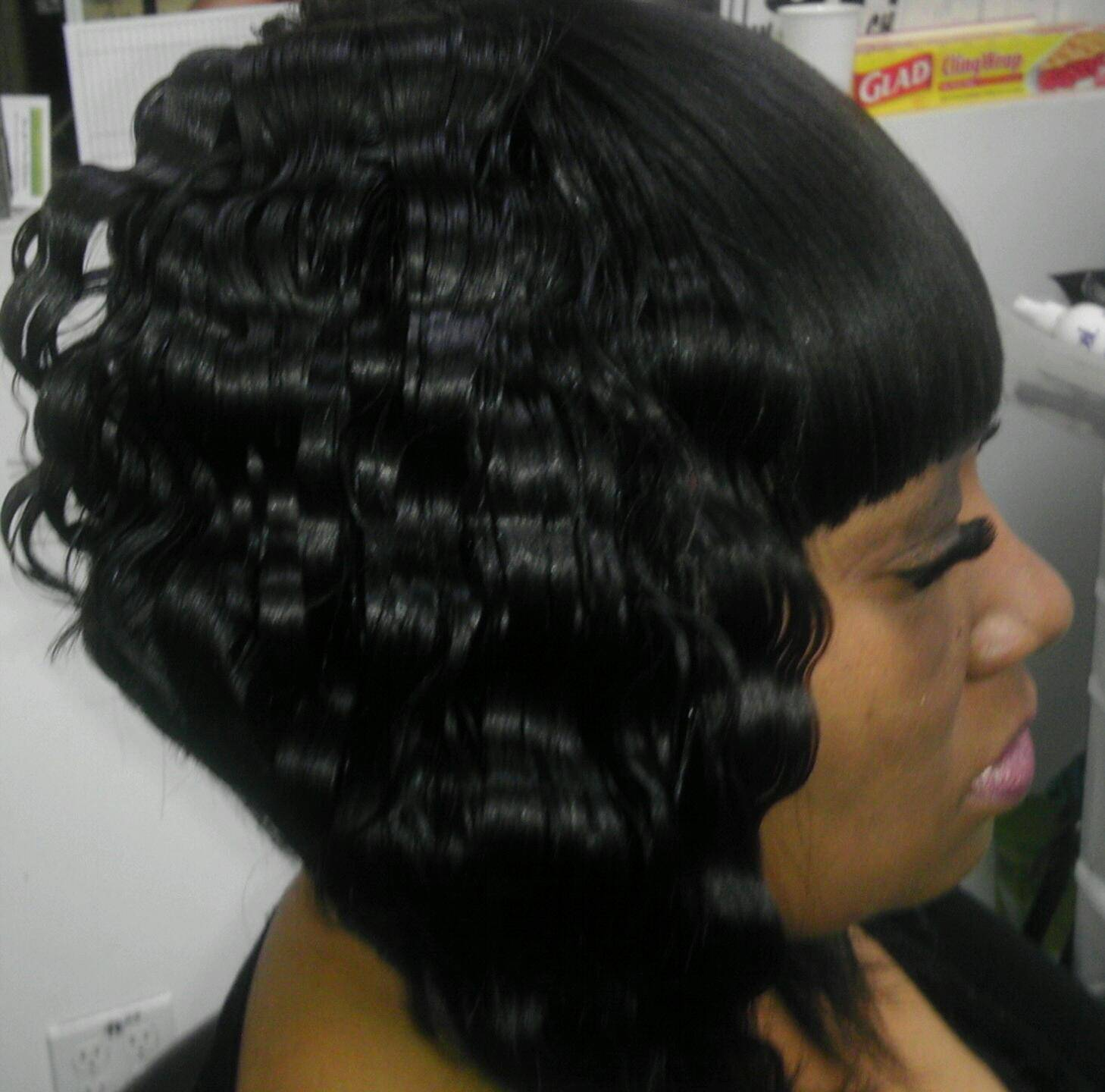 Deep wave, quick weave bob cut with straight bangs