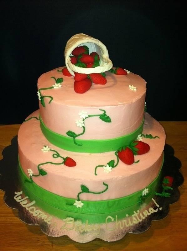 Strawberry Baby Shower Cake
