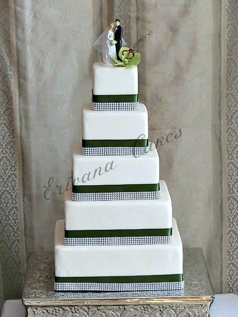 5 tier Square wedding cake