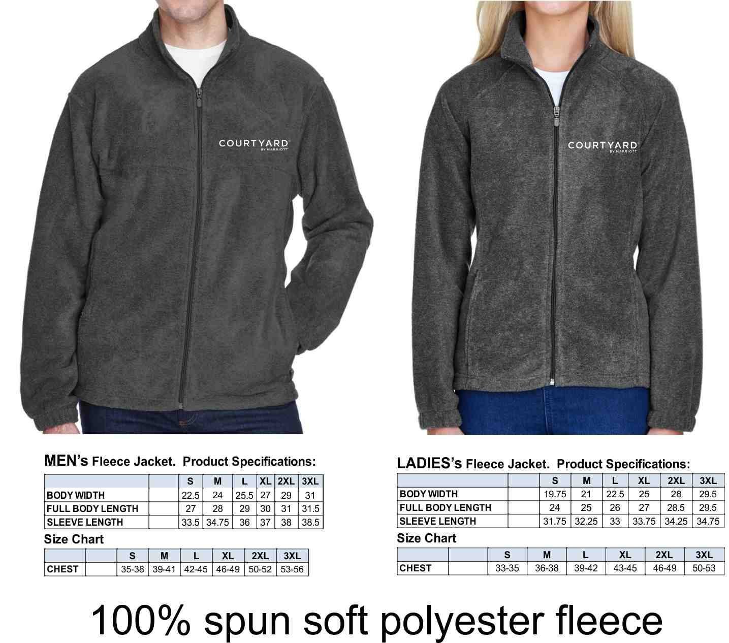 Fleece Jackets (Men's AND Ladies's) - Color: Charcoal - 100% Spun Soft Polyester Fleece - Silk-Screen Logo Left Chest - Highly Breathable - Front Zip Pockets - Elastic Cuffs