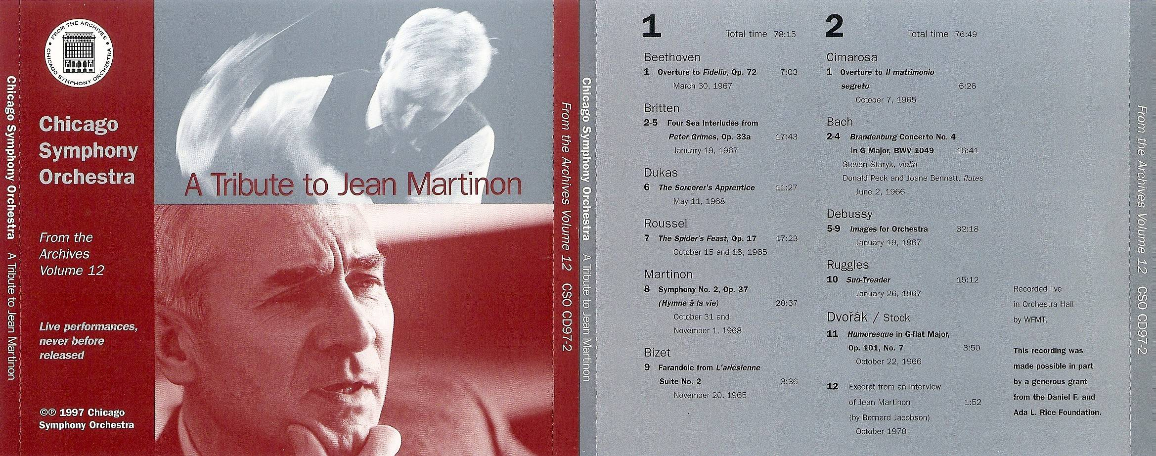 Chicago Symphony Orchestra - From The Archives, Vol.12: A Tribute to Jean Martinon, 2-CD set (1997)