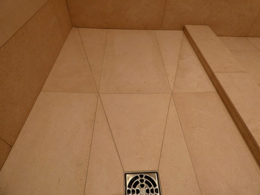 Limestone tile wetroom tray