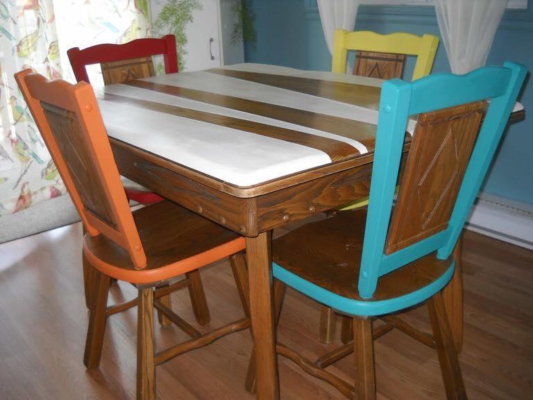 Chaises et table peinte