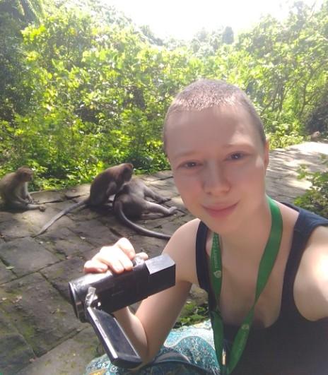 Yanni Van der Pant collecting data (Ubud Monkey Forest, Bali, May 2019)
